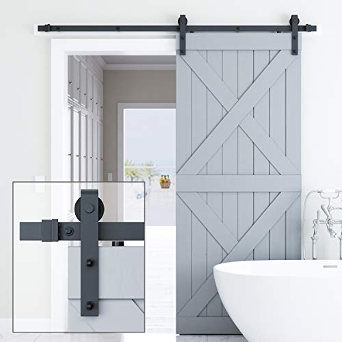 Genius Iron 6.6FT Single Barn Door Hardware, Classic Design Standard Track with Upgraded Nylon Bearings, for 36in-40in Wide Sliding Door Panel, Easy Installation,