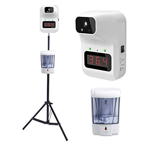 XIAOKUKU Infrarosso Senza Contatto Temperatura Scanner, a Parete sensore di Temperatura a infrarossi Strumento di Misura con treppiede e Hand Sanitizer Dispenser Supporta Allarme di Febbre