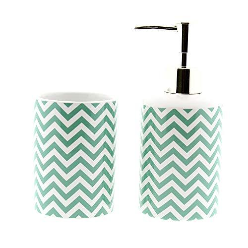 Cuco´S Nest Set de Baño de 2 Piezas de Ceramica Mod. ZIG Zag. Conjunto de Accesorios de sobreponer Compuesto de Vaso y dispensador de jabón