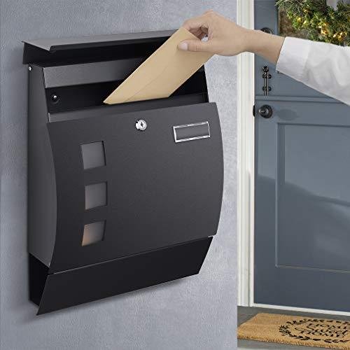 Großer Briefkasten Anthrazit mit Zeitungsfach, WOOHSE Postkasten Wandbriefkasten inkl. Namensschild Sichtfenster und Zeitungsrolle, Mailbox Matt, Abschließbar, 2 Schlüssel, BxHxT: 350 x 450 x 110mm