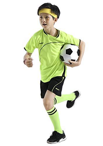 Coralup Kinder Sport-Shorts, Fußball- und Basketball-Uniform, Trikots, Trainingsanzug, Sommer, Strand, kurze Ärmel, 4 Farben, 4–13 Jahre Gr. 6-7 Jahre, grün