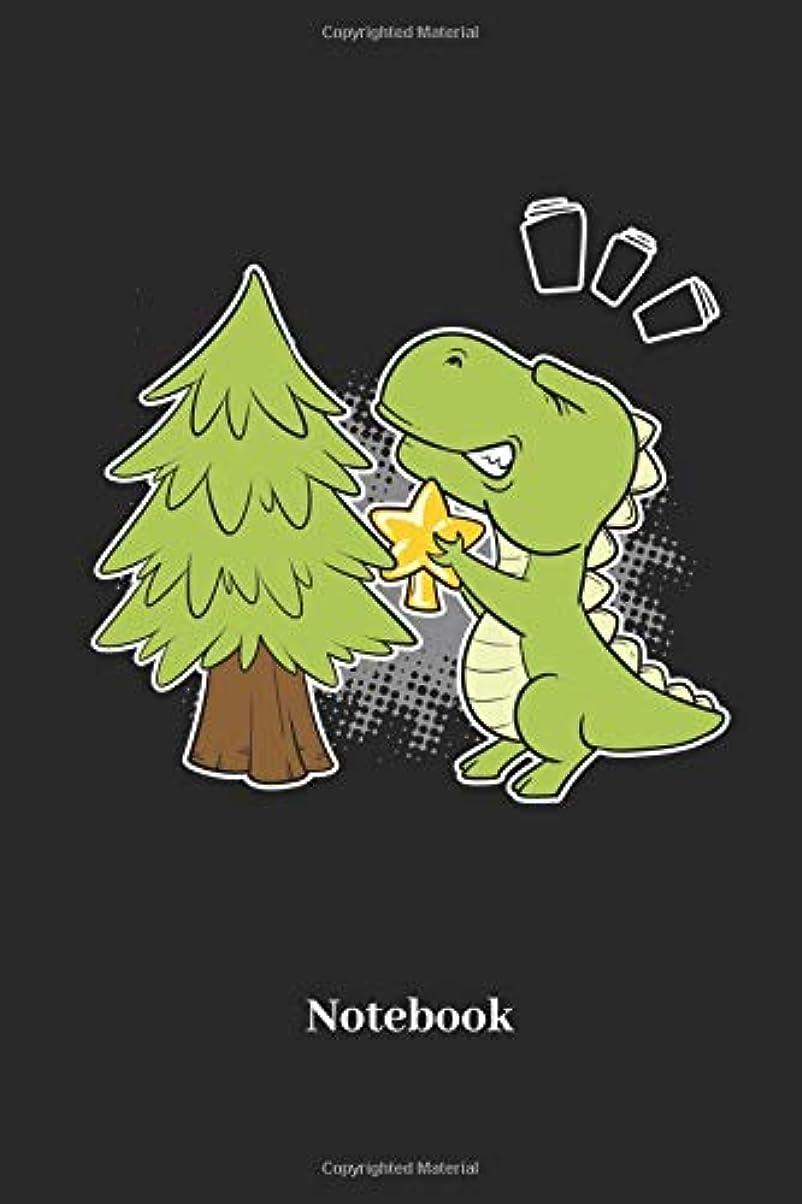 細部空中バックグラウンドNotebook: Lined notebook for dinosaur, saurian and christmas tree fans - perfect gift for men, women and kids