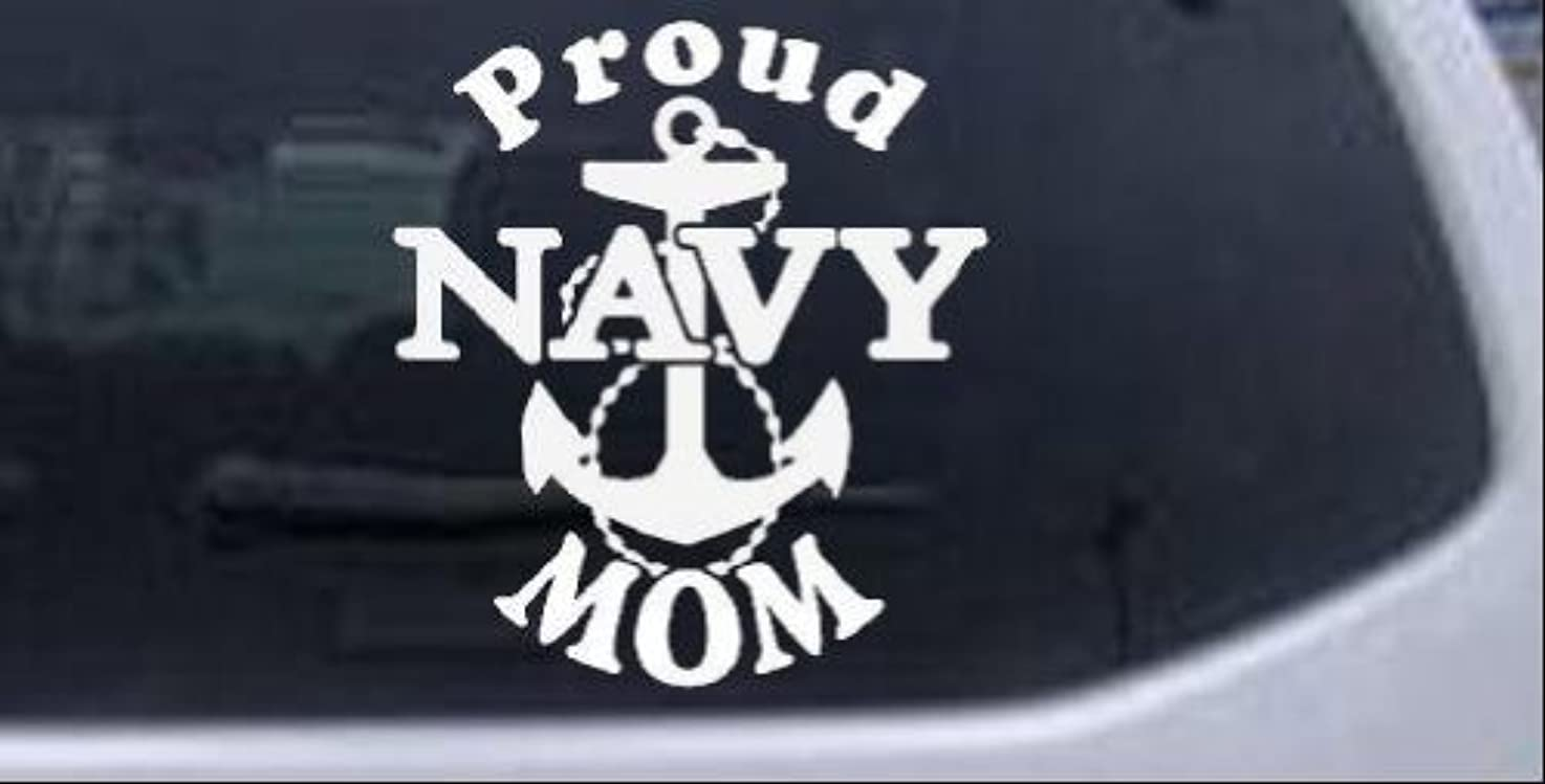 Proud Navy Mom Anchor Military Car Window Wall Laptop Decal Sticker -- White 6in X 6.5in