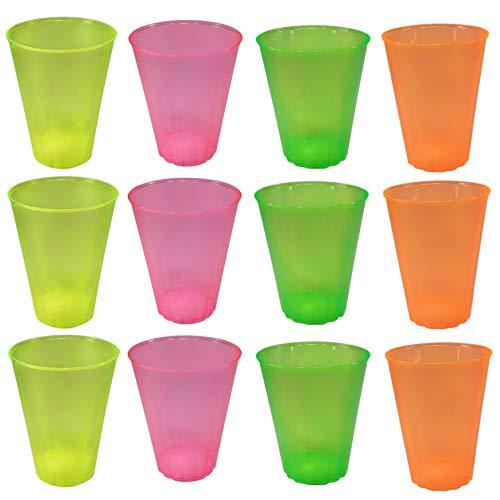 Generico Vasos de plástico de colores, transparentes, reutilizables. Colores fluorescentes, 12 unidades...