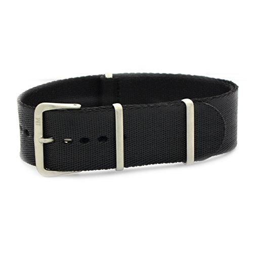 Armband van zwart satijnweefsel, 22 mm, voor Homega Panerai Rolex Morellato