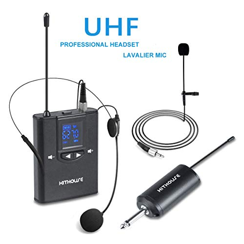 Kithouse 2-in-1 UHF Wireless Microphone Headset Lavalier Lapel Microphone System with Rechargeable Transmitter and Receiver 1/4' Output for Speech, Teaching, Meeting, Interview, Fitness Instructor