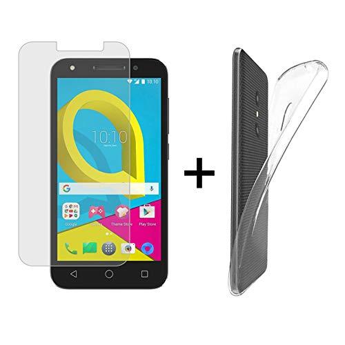 TBOC® Pack: Transparent Gel TPU Hülle + Hartglas Schutzfolie für Alcatel U5 3G - U5 Plus (5.0 Zoll) - Ultradünn Flexibel Silikonhülle. Panzerglas Bildschirmschutz in Kristallklar in Premium Qualität.