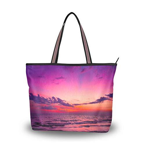 WowPrint Hawaii Ocean Damen Handtasche mit großer Kapazität Schultertasche für Schule, Arbeit, Reisen, Einkaufen, Strand