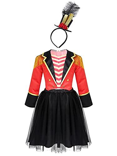IEFIEL Ropa Nia Disfraz Domadora de Circo para Navidad Carnaval Conjunto de Top y Faldas Camisetas de Directora +Falda Tut+Diadema Gorra Rojo-Negro 4 aos