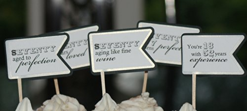 All About Details Black & White 70th Birthday Quotes Cupcake Toppers, Set of 12