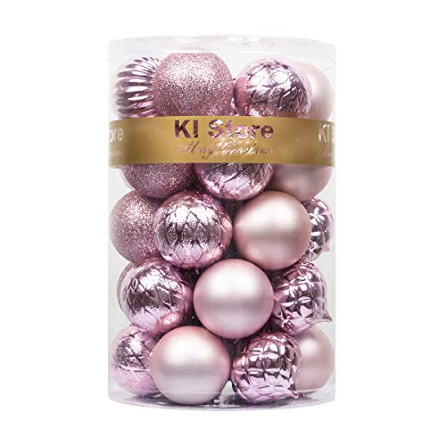 KI Store Christmas Balls Pink Shatterproof Christmas Tree Ball Ornaments Decorations for Xmas Trees Wedding Party Home Decor 2.36-Inch Hooks Included