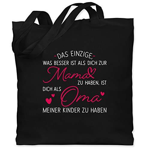 Shirtracer Oma - Das einzige, was besser ist als dich zur Mama zu haben - weiß - Unisize - Schwarz - XT600_Jutebeutel_lang - WM101 - Stoffbeutel aus Baumwolle Jutebeutel lange Henkel