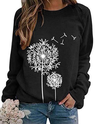 Dresswel Damen Löwenzahn Sweatshirt Langarmshirt Pusteblume Drucken Pullover Herbst Winter Bluse Tops Oberteile (2-Black, M)