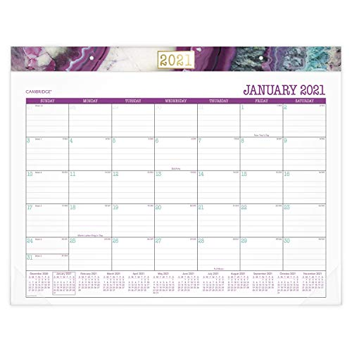 Cambridge 2021 Schreibtisch-Kalender, monatlicher Schreibtischunterlage, 53,3 x 43,2 cm, Standard, Achat (D1053-704-21)