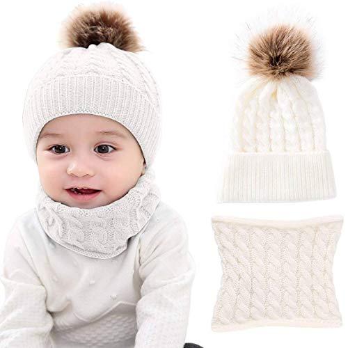CheChury Warme Winter Mütze Schal Kinder Sets Baby Mädchen Beanie Hut Jungen Strickmütze mit Bommel Babymütze Schlupfmütze für 0-3 Jahre Kinder-A-Weiß-One Size