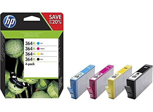 HP Cartuchos de tinta 364XL N9J74AE originales, 4 unidades, 550/750 páginas (negro y color) (4 unidades)