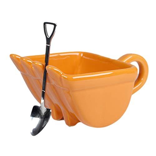 Taza de café personalizada | Taza de café con cubo de excavadora 3D, taza de café divertida en forma de cubo con cuchara, taza de bebida fuerte y resistente a las caídas