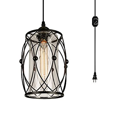 HMVPL Swag Plug-in Pendant Light with 15 Ft Hanging Cord and On/Off Dimmer Switch,Original Industrial Cage Lampshade Design for Dining Room, Bed Room,Hallway and More