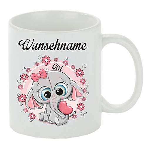 Creativ Deluxe Kaffeebecher m. Wunschname (Wunschname) Motiv Elefant Girl Kaffeetasse mit Motiv, Bedruckte Tasse mit Sprüchen oder Bildern - auch individuelle Gestaltung
