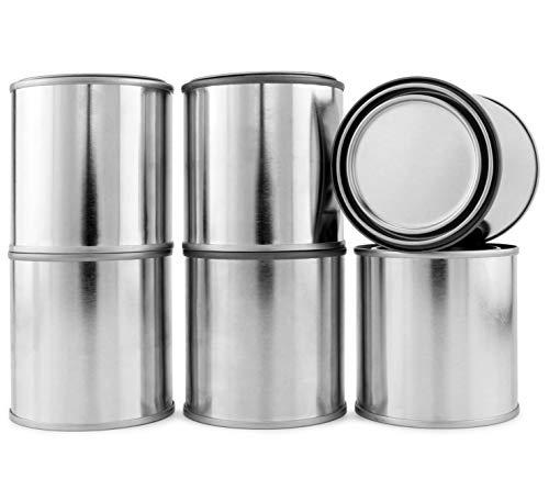 Cornucopia Metal Paint Cans with Lids (1/2 Pint Size, 6-Pack), Empty Unlined Half Pint Paint Pails