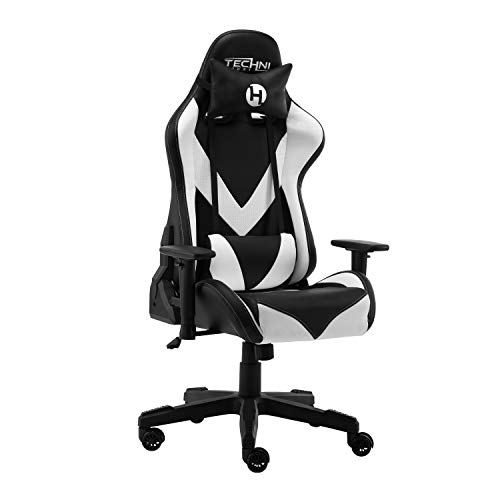 Techni Sport PC Gaming Chair with Foam Seat and Padded Arms, Reclining Office Chair with Height and Tilt Adjustable, White