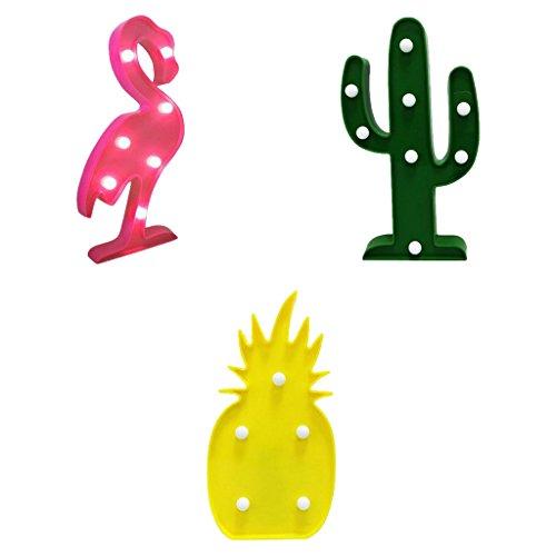 Gazechimp Lámpara de Noche Diseño de Flamenco Tropical Cactus Piña Luces LED Ideal para Hogar Viaje