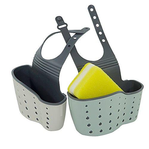2 Stück Schwamm Seifenhalter mit Schwamm, CNYMANY verstellbarer Gurt Waschbecken Caddy hängenden Organizer Aufbewahrungstasche für Küche Bad - grau
