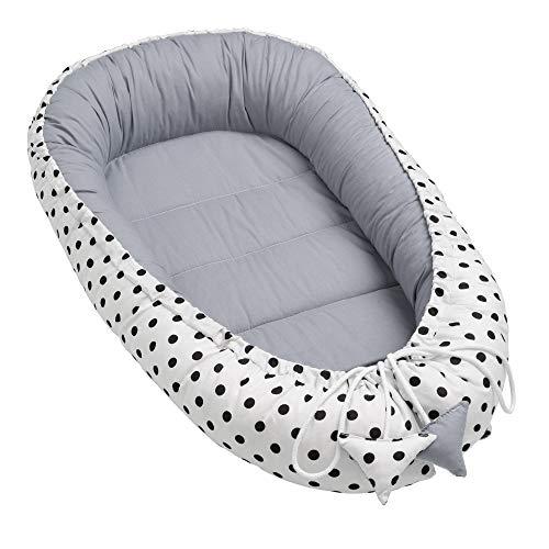 Solvera_Ltd Baby Nest Riduttore per Neonati Sacco Nanna Bambina Bambino Culla Sacco Nanna per Neonati 100% Cotone (Puntini)