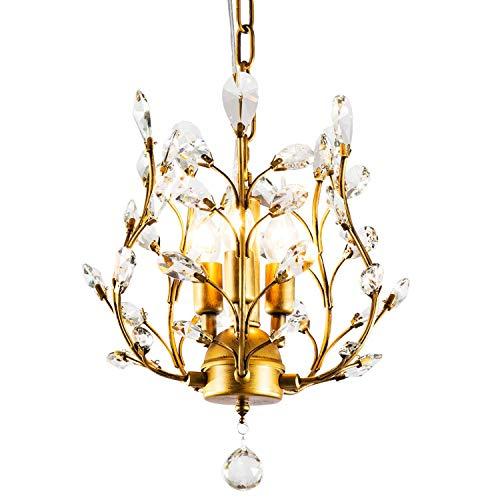 Ganeed Crystal Chandeliers,K9 Crystal Pendant Light with,3-Light Chandelier Lighting Fixtures,Ceiling Light for Living Room Bedroom Restaurant Hallway (Gold)