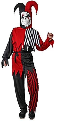 Gojoy shop- Disfraz de Bufón para Hombres y Mujeres Halloween Canaval (Contiene Capucha para Cuello y Hombro, Camiseta, Pantalón, Cinturón y Máscara, Talla Unica)