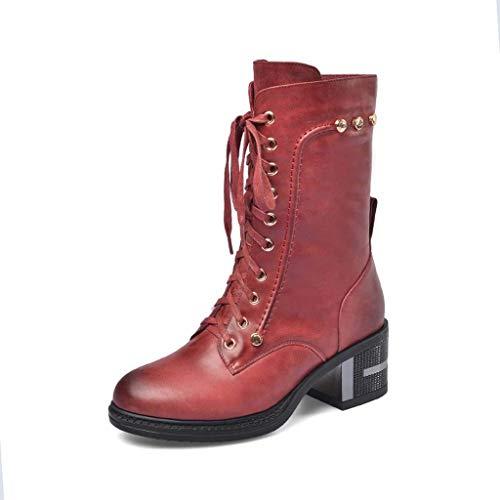 WXDP Antideslizante Zapatos de Mujer Botas Martin de Cuero de Primera Capa Nuevas Botas de tacón Grueso con Remaches Botas Casuales, A, 37