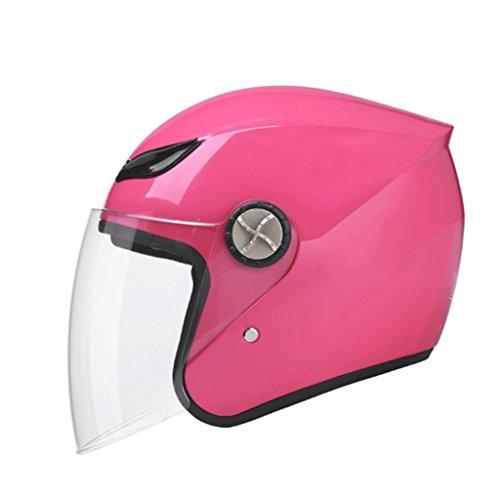 FLY® Casque, Demi-casque De Moto - Écran Antibuée, Protection UV, Casque Universel Pour Hommes Et Femmes (Couleur : Pink)