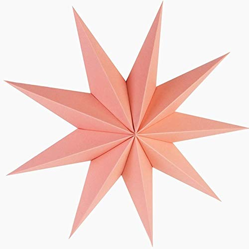 Party Decoration 1Pc 30Cm Vintage 9 Angles Paper Star 3D Hanging Paper Star Lanterns for Christmas Wedding Shower Home Decorations Crafts,Pink