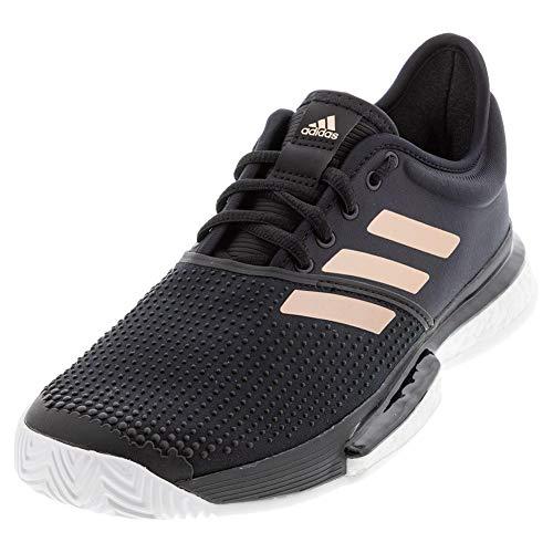 adidas Men's Solecourt Tennis Shoe, Black/White/Copper, 6