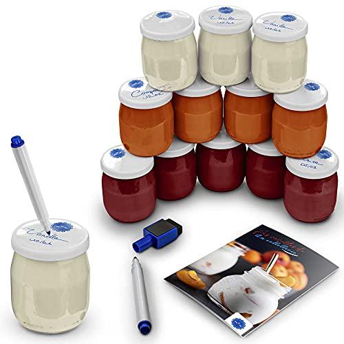 La Colletterie 12 Pots de Yaourts en Verre|12 Étiquettes Waterproof réutilisables avec Stylo Effaçable|12 Couvercles Étanches à Dater pour Yaourtières|Robots|Multicuiseurs|Recettes Offert