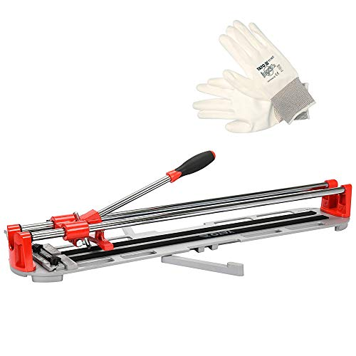 YATO - Kit cortadora de azulejos manual de 600 mm, cortador de azulejos de acero, diámetro del husillo 10 x 82 mm, cortador de azulejos para suelos + guantes de trabajo