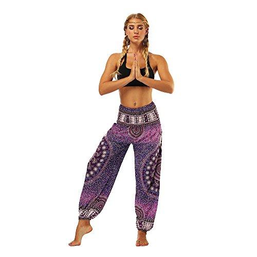 OYABEAUTYE Mujer Harem Hippy Pantaloni Cintura Elástica bonzaai Pantalones (Estrella Morada, One Size)