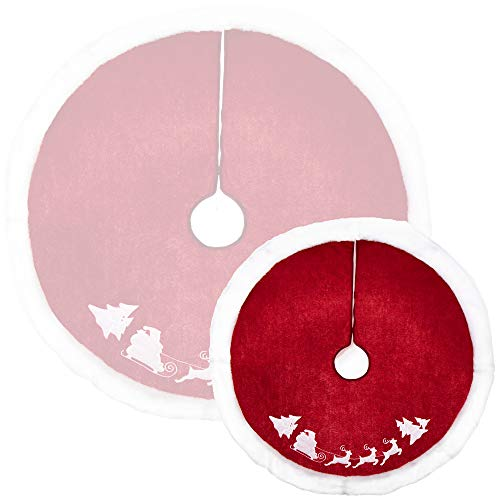 com-four® Weihnachtsbaumdecke zum Schutz vor Tannennadeln - runde Christbaumdecke für den Weihnachtsbaum - Unterlage mit Weihnachtsmotiv