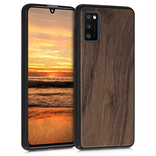 kwmobile Bumper Schutzhülle kompatibel mit Samsung Galaxy A41 - Holz Hülle Handy Hülle Cover Dunkelbraun