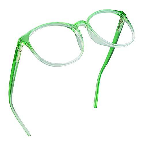 LifeArt Blaue Licht Blockieren Brille, Anti-Augen-Müdigkeit, Computer Lesebrillen, TV Brille für Frauen Männer (Transparentes Grün, Nein Vergrößerung)