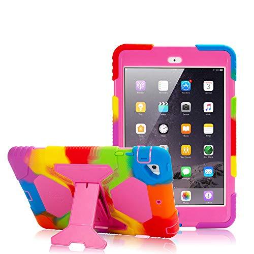 ACEGUARDER iPad Mini Case, Full Body Protective Premium Soft Silicone Cover with Adjustable Kickstand for iPad Mini 1 2 3 (Rainbow Pink)