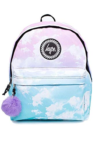 HYPE Backpack Rucksack School Bag for Girls Boys | Fade Clouds Pom Pom | Ideal P.E Gym Travel Day Shoulder Pack