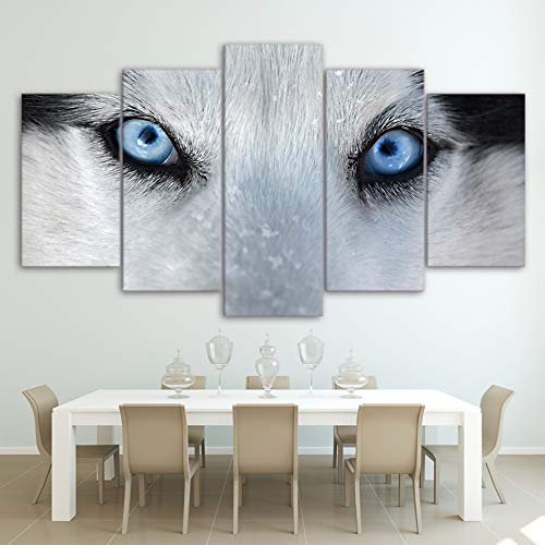 Leinwand Wandkunst Bilder Hd Drucke Wohnzimmer Rahmen 5 Stück Wolf Blue Eyes Gemälde Tier Hund Husky Poster Home Decor(Frameless size2)