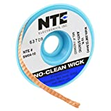 NTE Electronics SW04-10 No-Clean Solder Wick with Anti-Static Bobbin, 4 Blue.098' Width, 10' Length, One Size