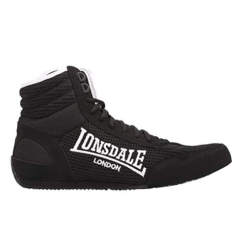 Lonsdale Mens Laced Quilted Mid Cut Contender Boxing Boots (9 UK, Black/White)