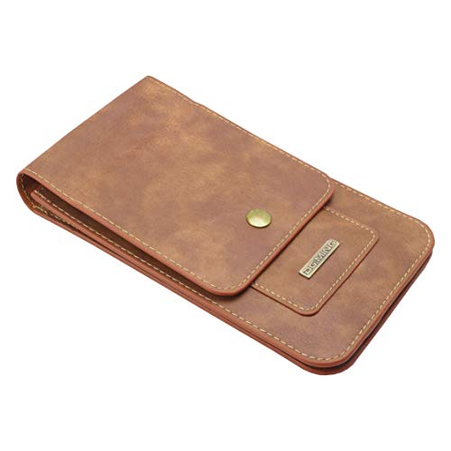 prendre スマホポーチ カラビナ ベルト 6.5インチ 2台 スマホケース メンズ マルチ カード収納 iPhone 11 Pro Max スマートフォン (ブラウン) PR-SPMULTICASE-BR