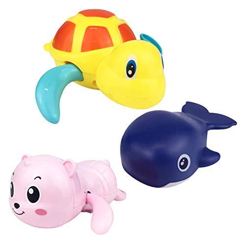 Wenosda 3piezas Grande Winding Animal Juguete Piscina Bañera de Agua flotantes para bebés Niños Que se bañan Nadar en el Agua Fiesta (Tortuga Amarilla +Ballena Azul Oscura + Oso de Color Aleatorio)