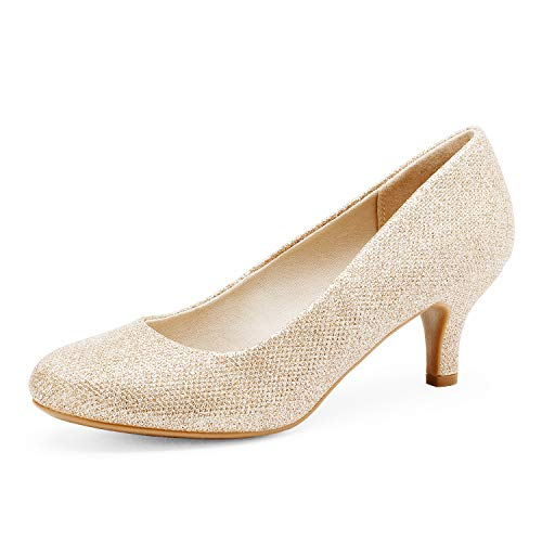 DREAM PAIRS Women's Luvly Gold Bridal Wedding Low Heel Pump Shoes - 8 M US