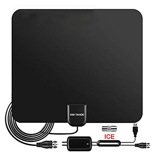 TV Aerial, 2021 Newest Indoor TV Aerial for Digital Freeview 4K 1080P HD VHF UHF for Local Channels 100+ Miles Range with Signal Amplifier Support TV