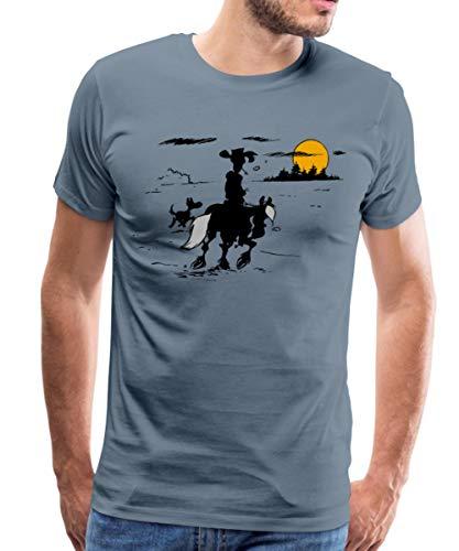 Lucky Luke mit Jolly Jumper und Rantanplan Männer Premium T-Shirt, L, Blaugrau